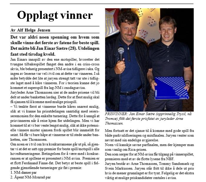 Beste spill bridgefestival 2000_jan E Sætre